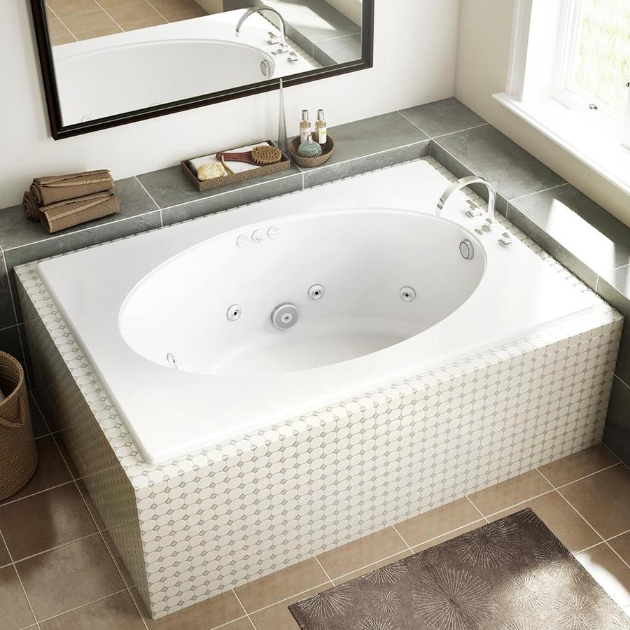 Jacuzzi Primo 60 In White Acrylic Oval In Rectangle Reversible Drain  Drop In Whirlpool