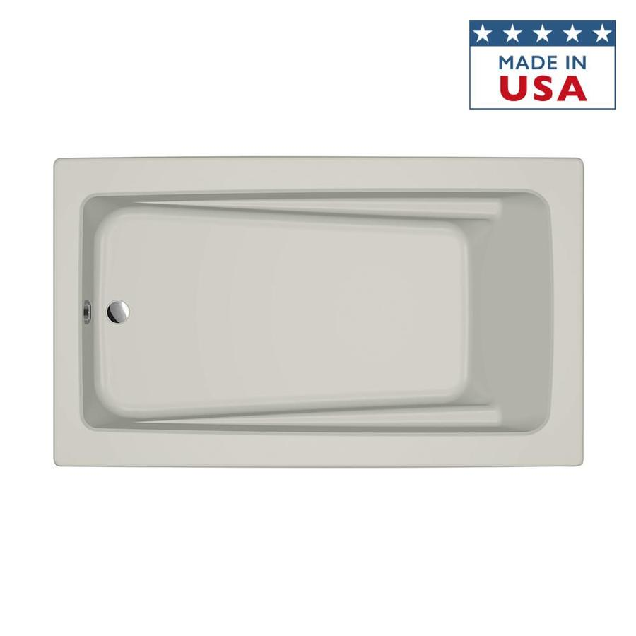 Jacuzzi Primo Oyster Acrylic Rectangular Drop-in Bathtub with Reversible Drain (Common: 42-in x 72-in; Actual: 21-in x 42-in x 72-in)