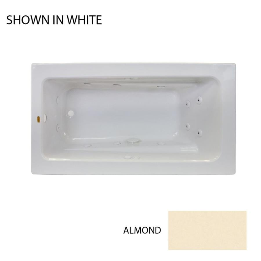 Jacuzzi Primo 72-in Almond Acrylic Drop-In Whirlpool Tub with Reversible Drain