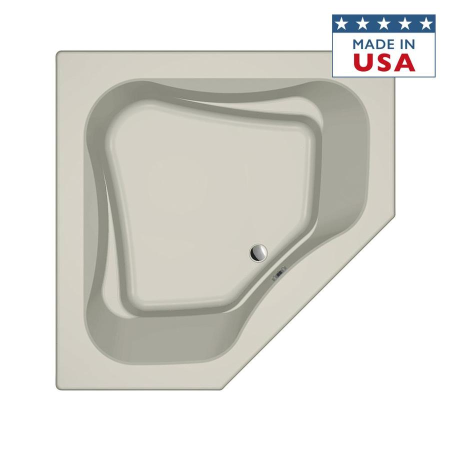 Jacuzzi Primo Almond Acrylic Corner Drop-in Bathtub with Front Center Drain (Common: 60-in x 60-in; Actual: 21-in x 60-in x 60-in)