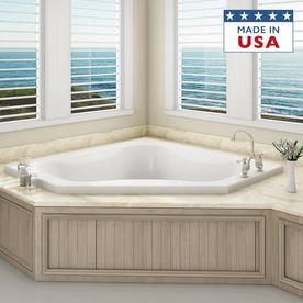 Jacuzzi Primo 60 In White Acrylic Corner Front Center Drain Drop Bathtub