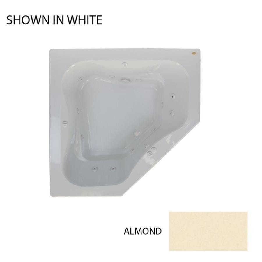 Jacuzzi Primo 2-Person Almond Acrylic Corner Whirlpool Tub (Common: 60-in x 60-in; Actual: 21-in x 60-in x 60-in)