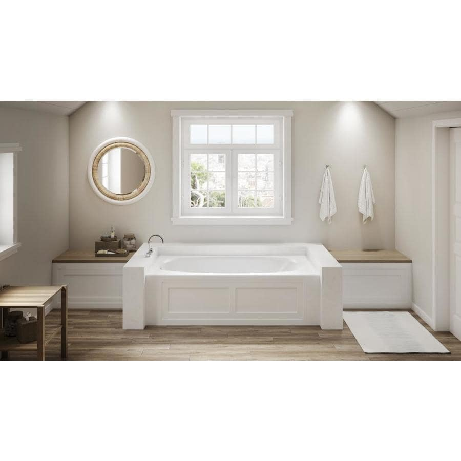Jacuzzi Amiga 36 In W X 72 In L White Acrylic Oval In Rectangle Left Hand Drain Alcove Whirlpool Tub In The Bathtubs Department At Lowes Com