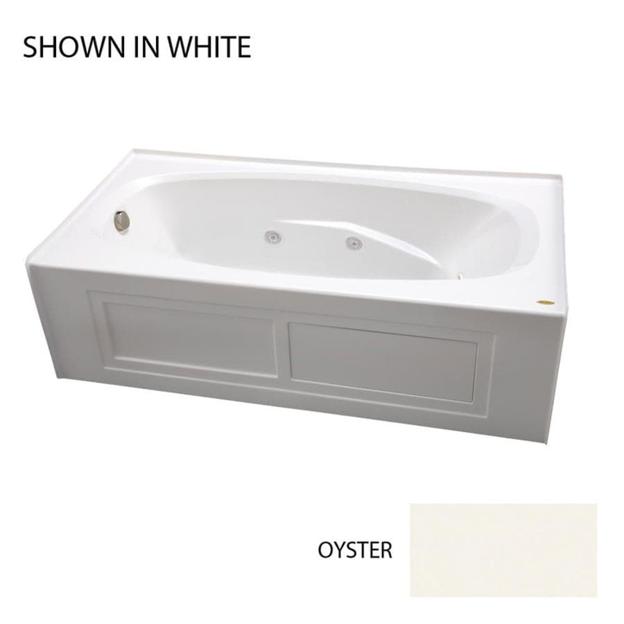 Jacuzzi Amiga 72-in Oyster Acrylic Alcove Whirlpool Tub with Left-Hand Drain