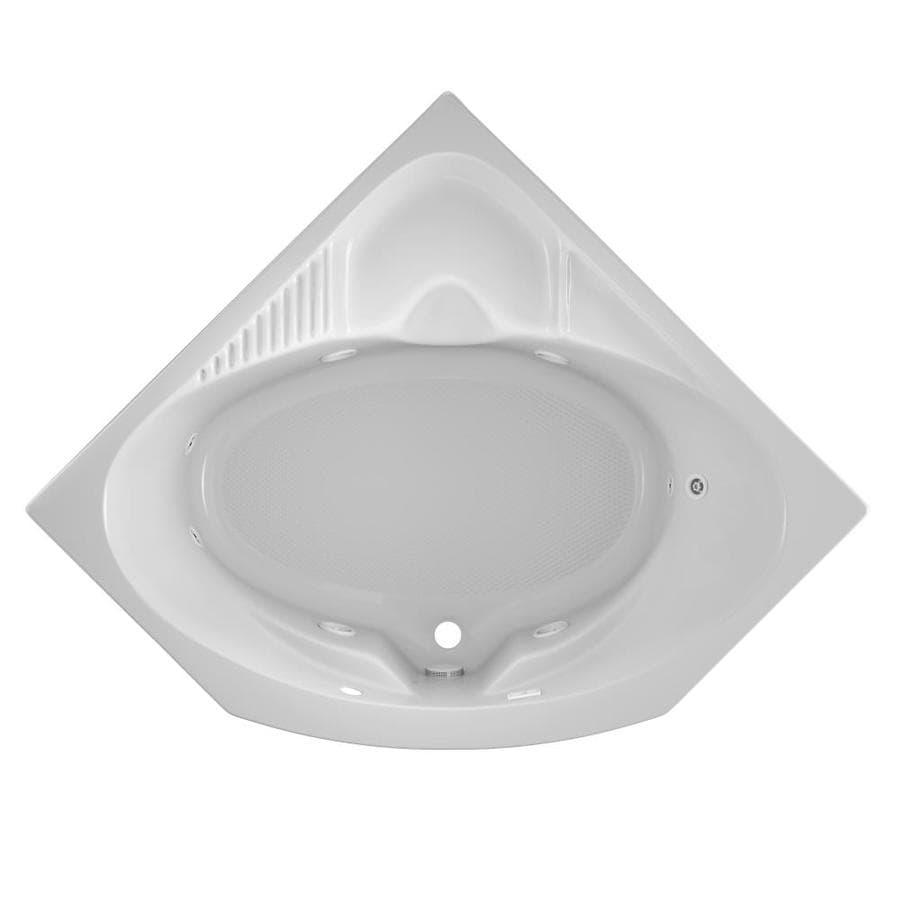 Jacuzzi Capella 2-Person White Acrylic Corner Whirlpool Tub (Common: 55-in x 55-in; Actual: 20.25-in x 55-in x 55-in)