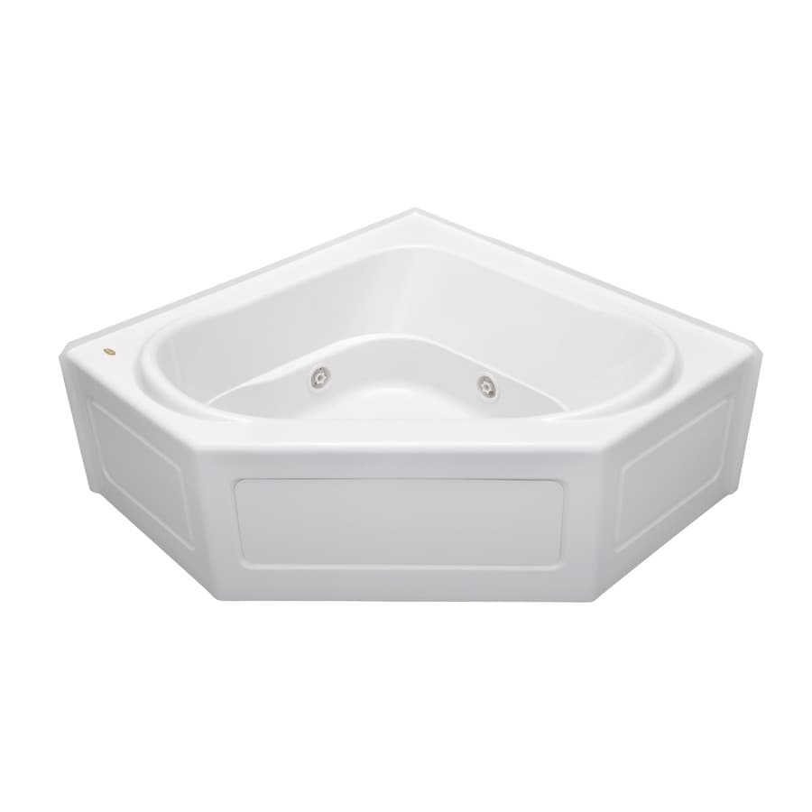 Jacuzzi Capella 55 In White Acrylic Corner Center Drain Alcove Whirlpool Bathtub