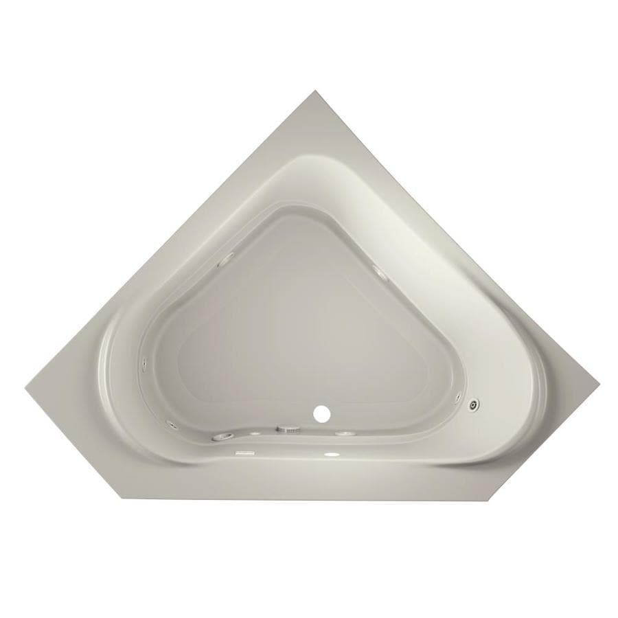 Jacuzzi Capella 2-Person Oyster Acrylic Corner Whirlpool Tub (Common: 60-in x 60-in; Actual: 20-in x 60-in x 60-in)