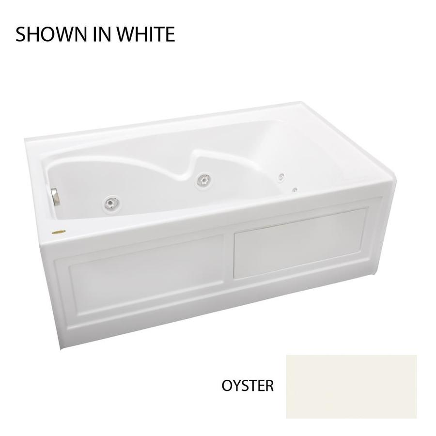 Jacuzzi Cetra 60-in Oyster Acrylic Alcove Whirlpool Tub with Left-Hand Drain