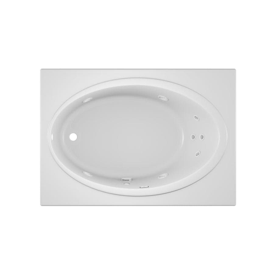 Shop Jacuzzi Nova White Acrylic Oval in Rectangle Whirlpool Tub ...