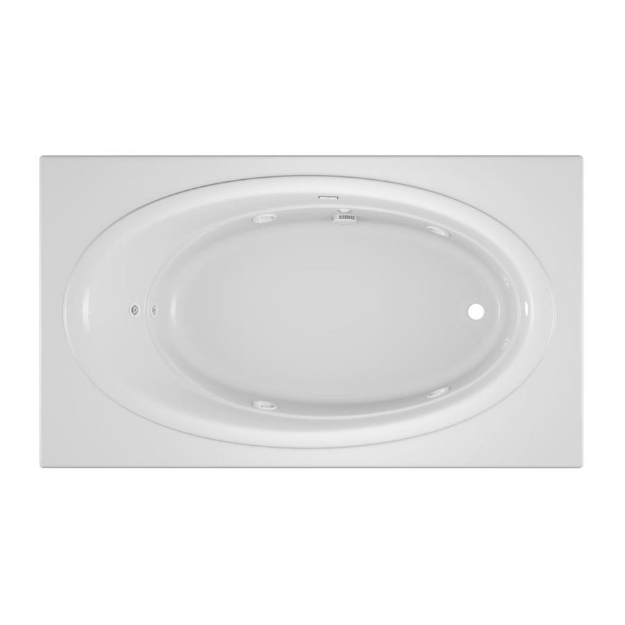 Jacuzzi Nova White Acrylic Oval In Rectangle Whirlpool Tub (Common: 42-in x 72-in; Actual: 20.5-in x 42-in x 72-in)