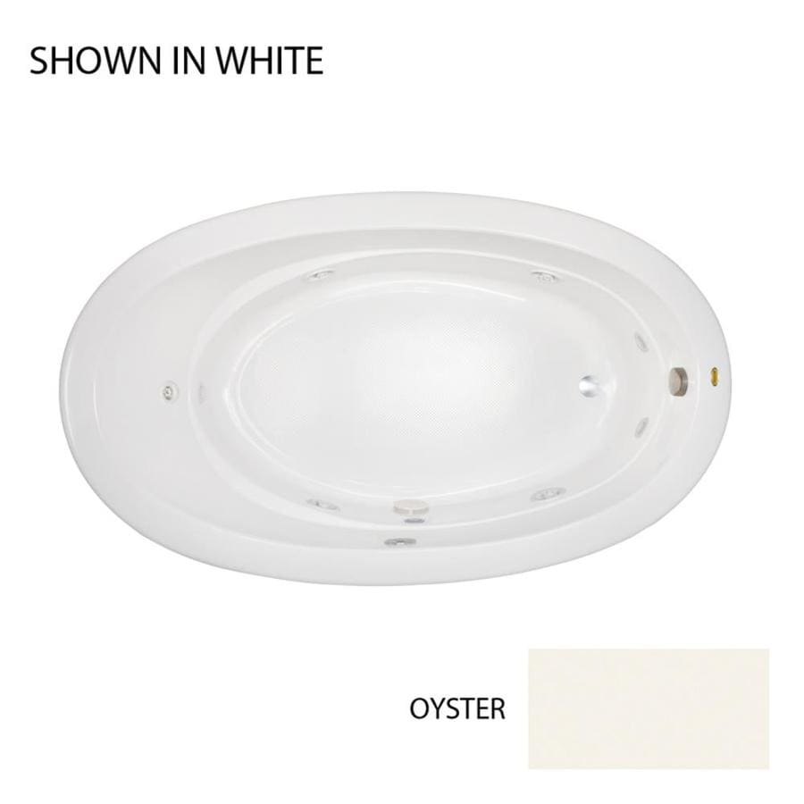 Jacuzzi Riva Oyster Acrylic Oval Whirlpool Tub (Common: 42-in x 72-in; Actual: 20.5-in x 42-in x 72-in)