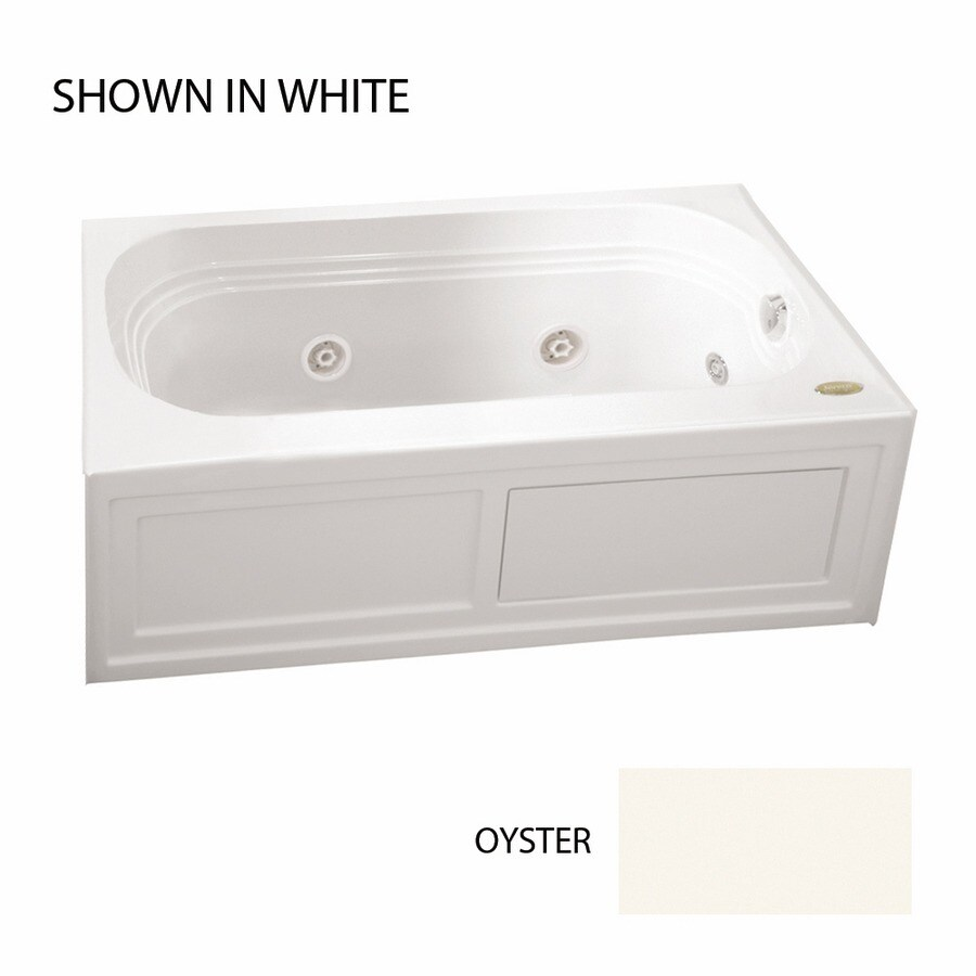 Jacuzzi Luxura 60-in Oyster Acrylic Alcove Whirlpool Tub with Right-Hand Drain