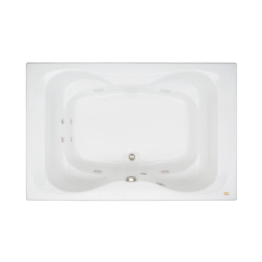 Jacuzzi Mito 60-in White Acrylic Drop-In Whirlpool Tub with Center Drain