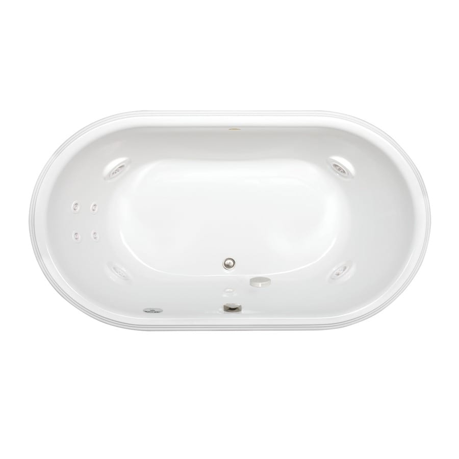 Jacuzzi Luna 2-Person White Acrylic Oval Whirlpool Tub (Common: 42-in x 72-in; Actual: 23-in x 42-in x 72-in)