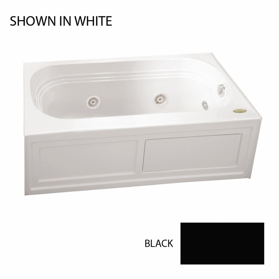 Jacuzzi Luxura 60-in Black Acrylic Alcove Whirlpool Tub with Right-Hand Drain