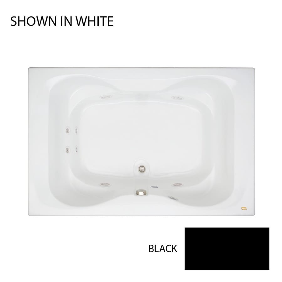 Jacuzzi Mito 60-in Black Acrylic Drop-In Whirlpool Tub with Center Drain