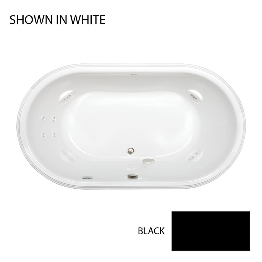 Jacuzzi Luna 2-Person Black Acrylic Oval Whirlpool Tub (Common: 42-in x 72-in; Actual: 23-in x 42-in x 72-in)