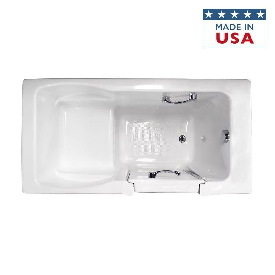 Jacuzzi Finestra White Acrylic Rectangular Walk-in Bathtub with Right-Hand Drain (Common: 30-in x 60-in; Actual: 38.5-in x 30-in x 60-in)
