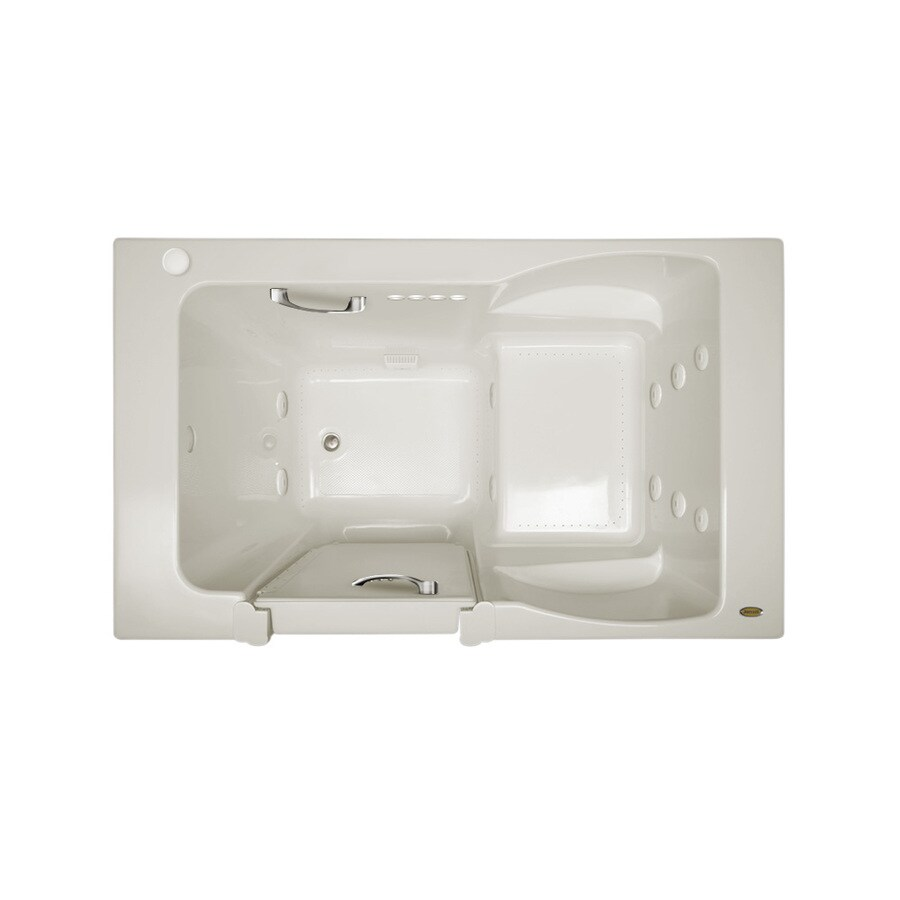 Jacuzzi Finestra 60-in Oyster Acrylic Walk-In Whirlpool Tub and Air Bath with Left-Hand Drain