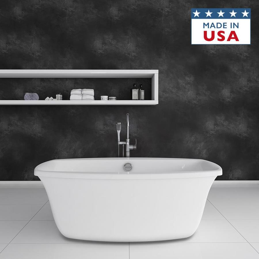 Jacuzzi Primo White Acrylic Oval Freestanding Bathtub with Center Drain (Common: 34-in x 66-in; Actual: 24-in x 34-in x 66-in)
