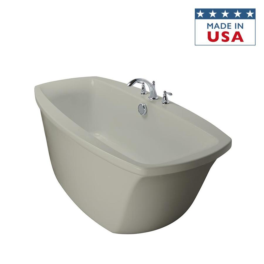 Jacuzzi Primo Oyster Acrylic Oval Freestanding Bathtub with Center Drain (Common: 34-in x 66-in; Actual: 24-in x 34-in x 66-in)