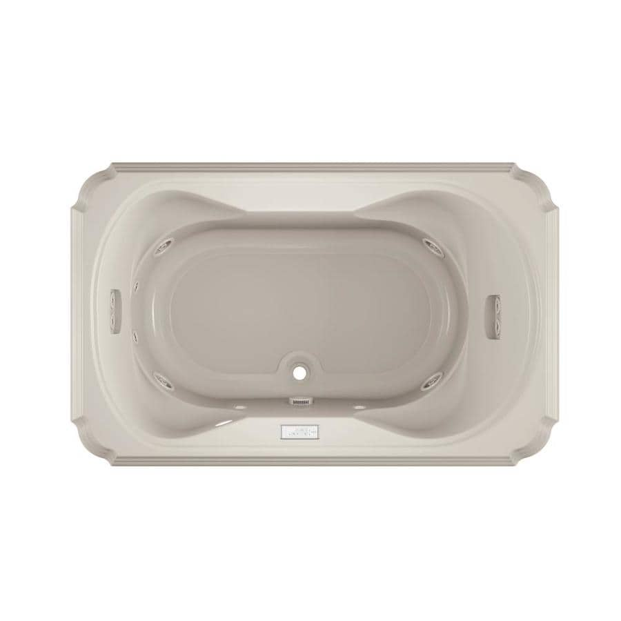 Jacuzzi Marineo 66-in Oyster Acrylic Drop-In Whirlpool Tub with Center Drain