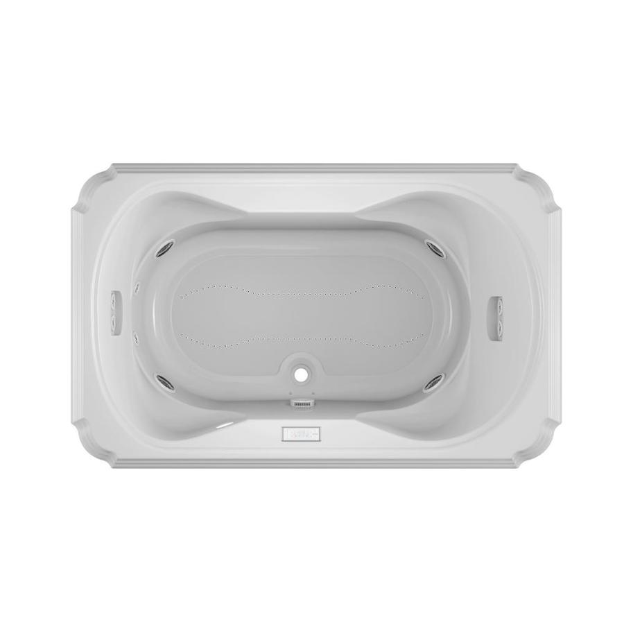Jacuzzi Marineo 66-in L x 42-in W x 26-in H 2-Person White Acrylic Rectangular Drop-In Whirlpool Tub and Air Bath