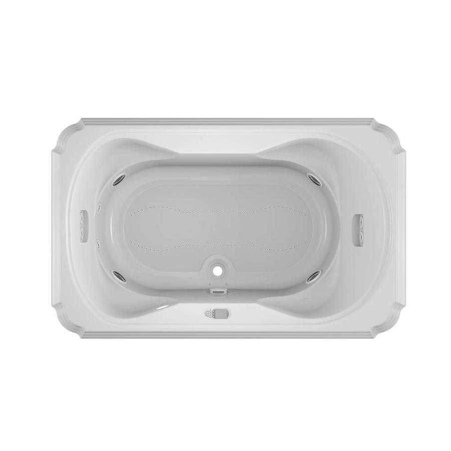 Jacuzzi Marineo 66-in L x 42-in W x 26-in H 2-Person White Acrylic Rectangular Whirlpool Tub and Air Bath