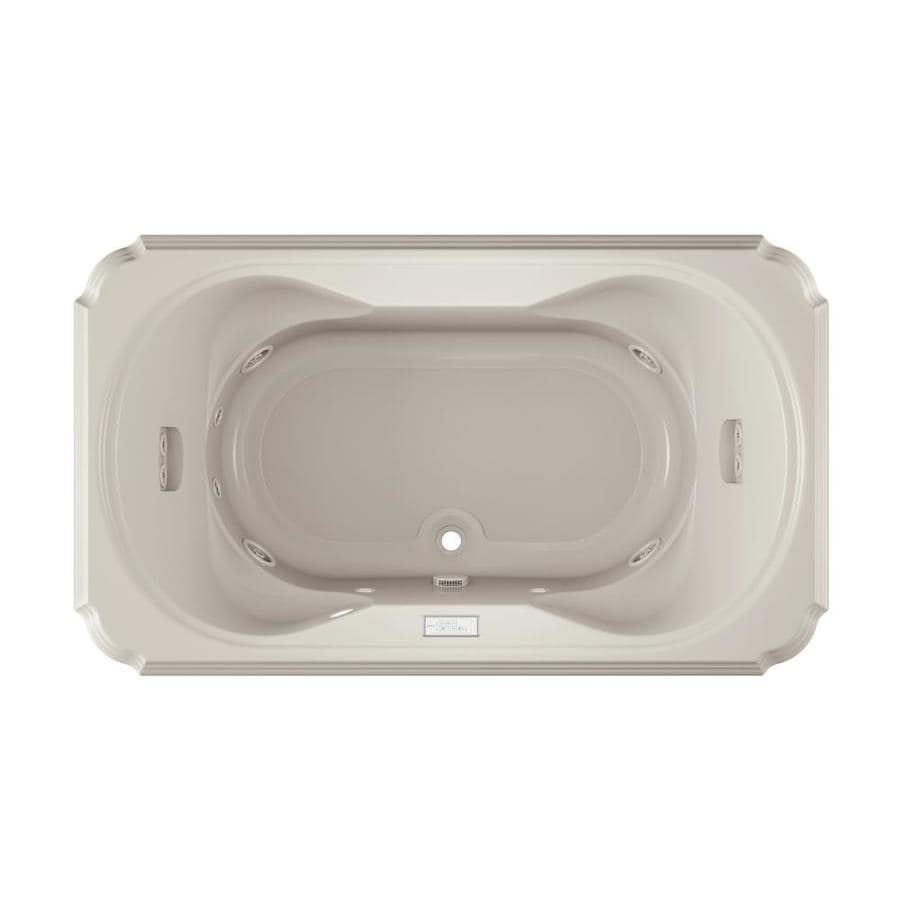 Jacuzzi Marineo 72-in Oyster Acrylic Drop-In Whirlpool Tub with Center Drain