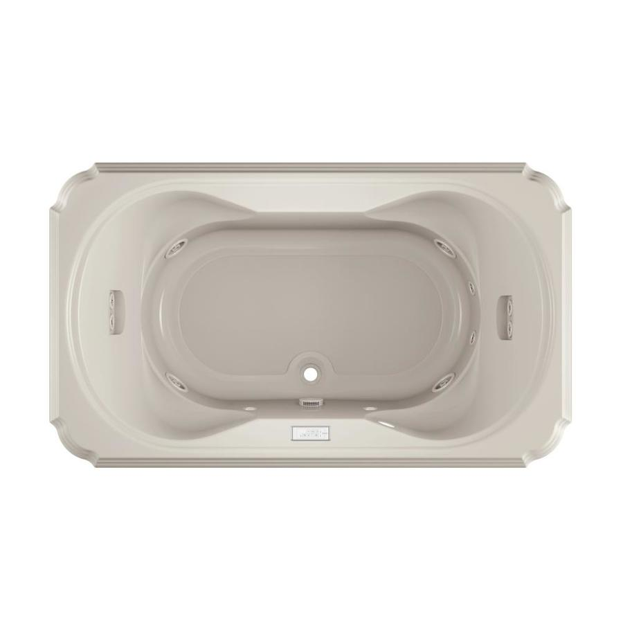 Jacuzzi Marineo 2-Person Oyster Acrylic Rectangular Whirlpool Tub (Common: 42-in x 72-in; Actual: 26-in x 42-in x 72-in)