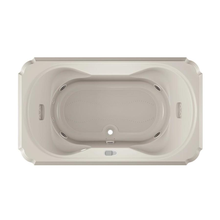 Jacuzzi Marineo 72-in L x 42-in W x 26-in H 2-Person Oyster Acrylic Rectangular Whirlpool Tub and Air Bath