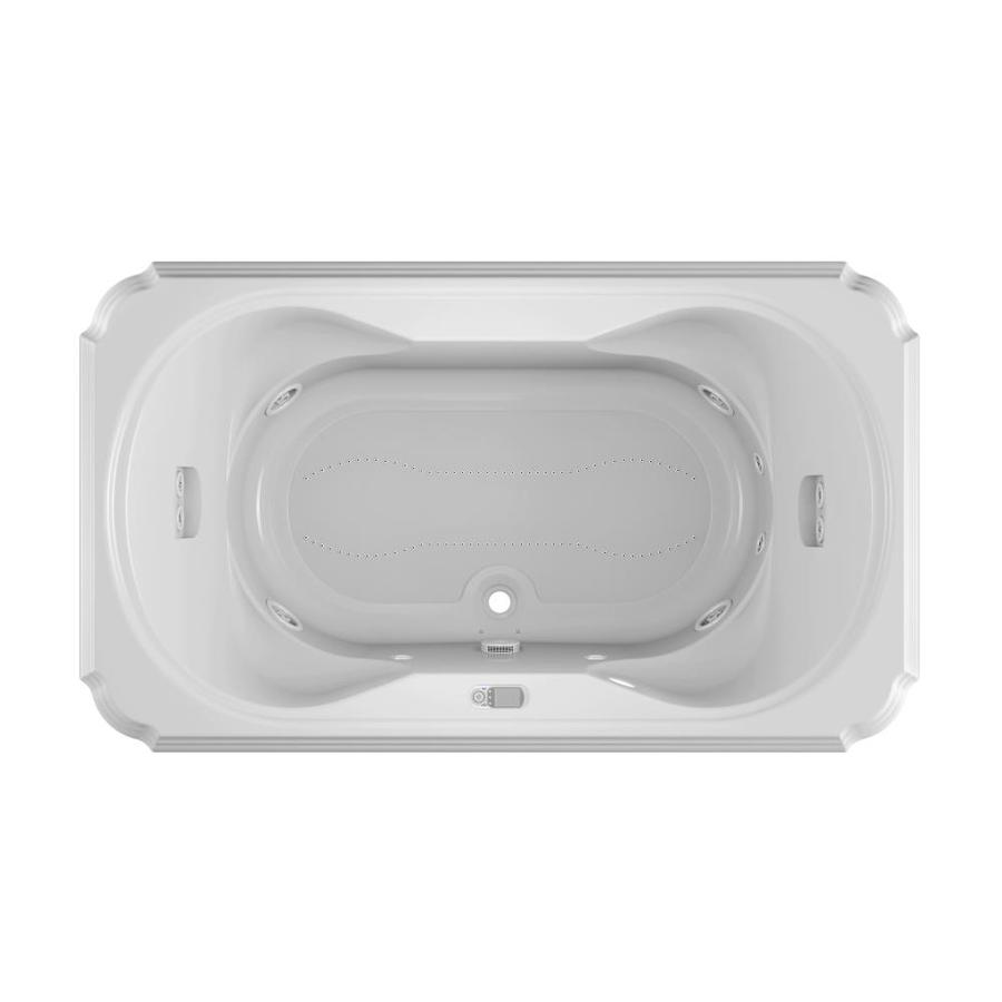 Jacuzzi Marineo 72-in L x 42-in W x 26-in H 2-Person White Acrylic Rectangular Whirlpool Tub and Air Bath