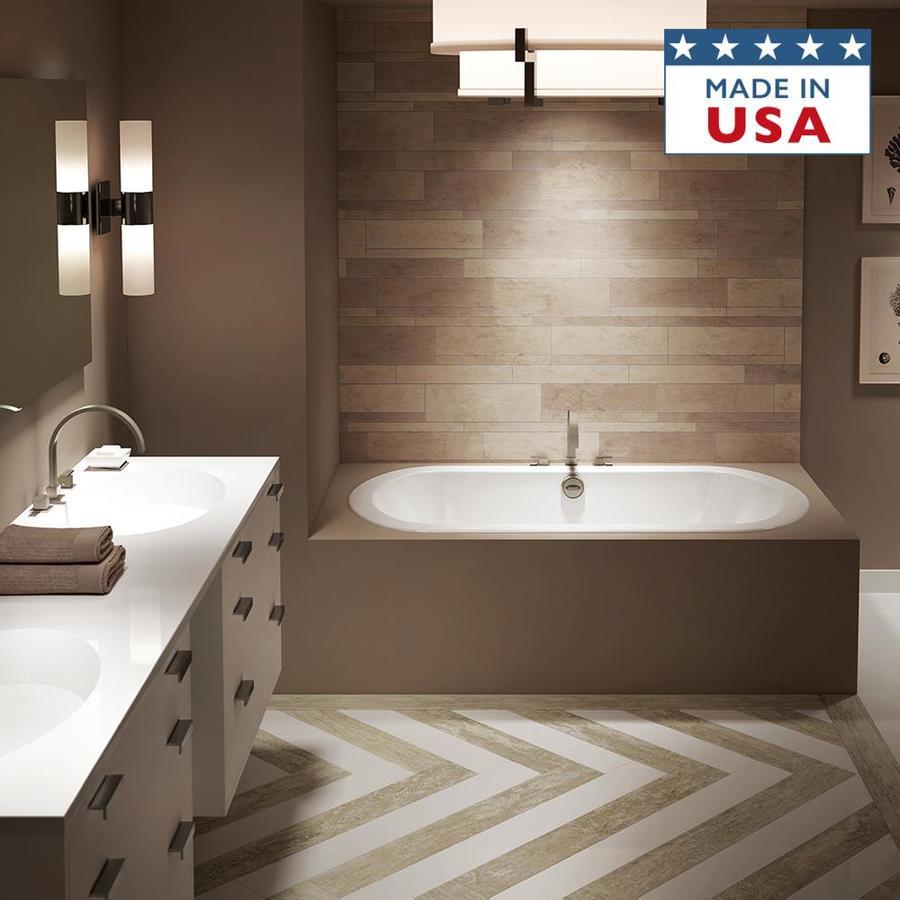Jacuzzi Anza 66-in White Acrylic Bathtub with Center Drain