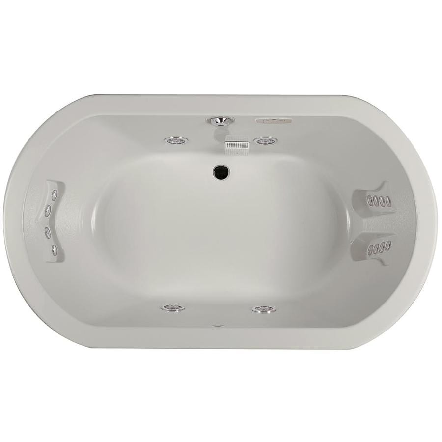 Jacuzzi Anza 2-Person Oyster Acrylic Oval Whirlpool Tub (Common: 42-in x 72-in; Actual: 26-in x 42-in x 72-in)