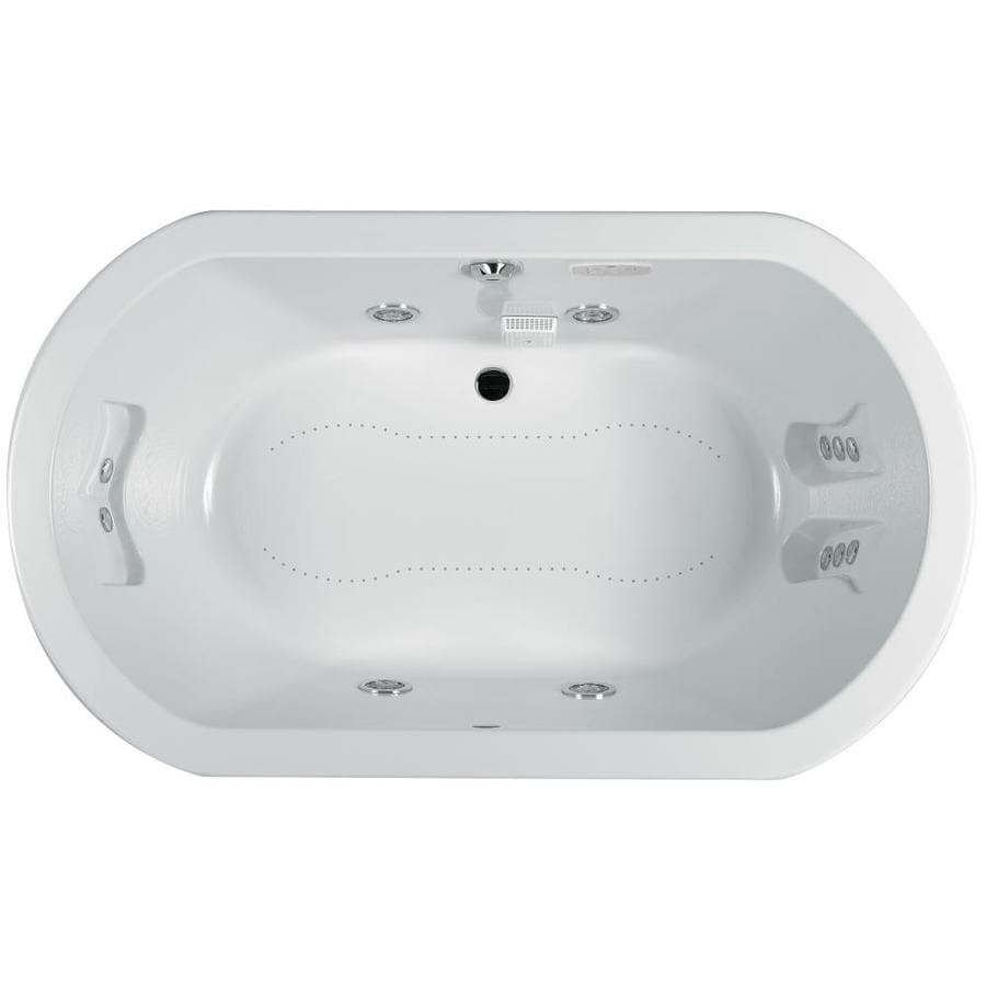 Jacuzzi Anza 72-in L x 42-in W x 26-in H 2-Person White Acrylic Oval Whirlpool Tub and Air Bath