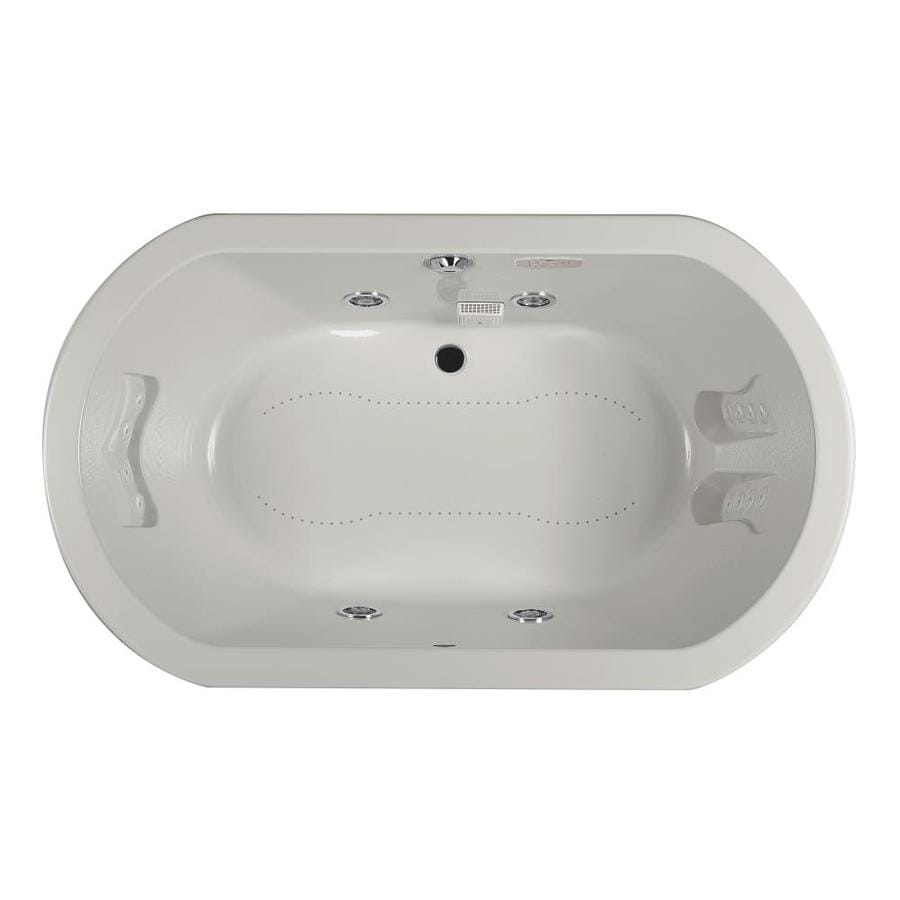 Jacuzzi Anza 72-in L x 42-in W x 26-in H 2-Person Oyster Acrylic Oval Whirlpool Tub and Air Bath