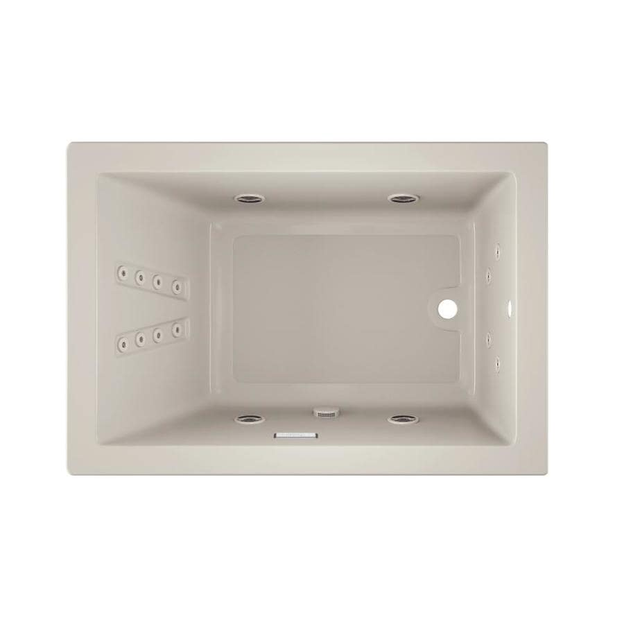 Jacuzzi Solna 60-in Oyster Acrylic Drop-In Whirlpool Tub with Reversible Drain