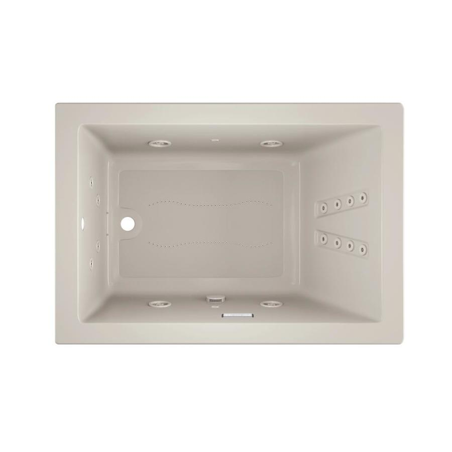 Jacuzzi Solna 60-in L x 42-in W x 26-in H Oyster Acrylic Rectangular Whirlpool Tub and Air Bath