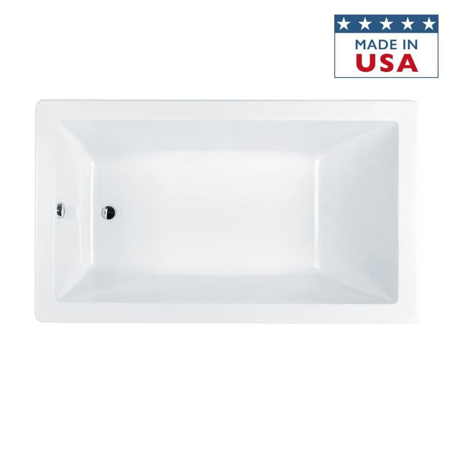 Jacuzzi Solna White Acrylic Rectangular Drop-in Bathtub with Reversible Drain (Common: 36-in x 66-in; Actual: 26-in x 36-in x 66-in)