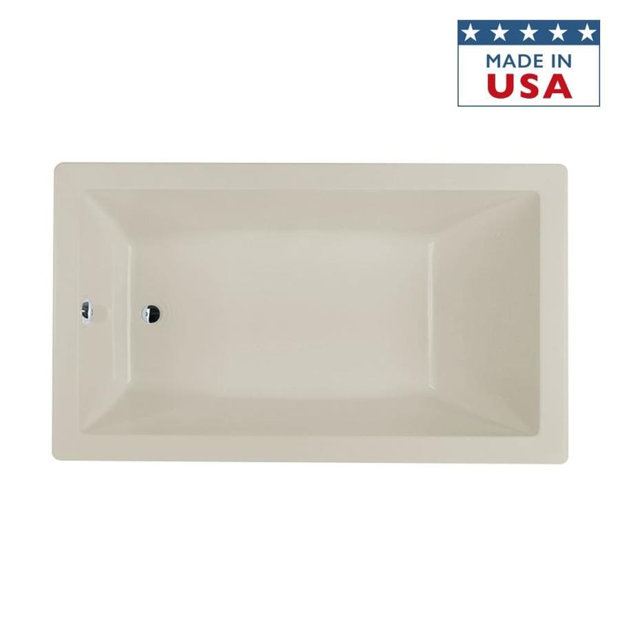 Jacuzzi Solna Oyster Acrylic Rectangular Drop-in Bathtub with Reversible Drain (Common: 36-in x 66-in; Actual: 26-in x 36-in x 66-in)