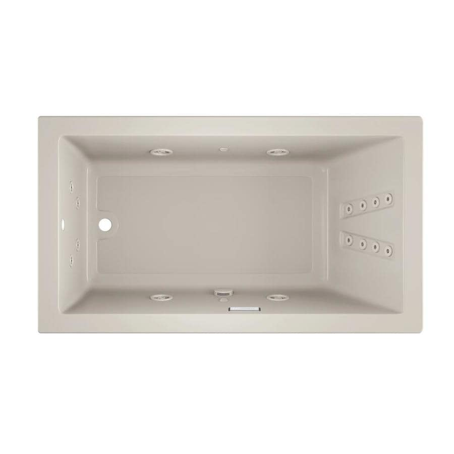 Jacuzzi Solna 66-in Oyster Acrylic Drop-In Whirlpool Tub with Reversible Drain