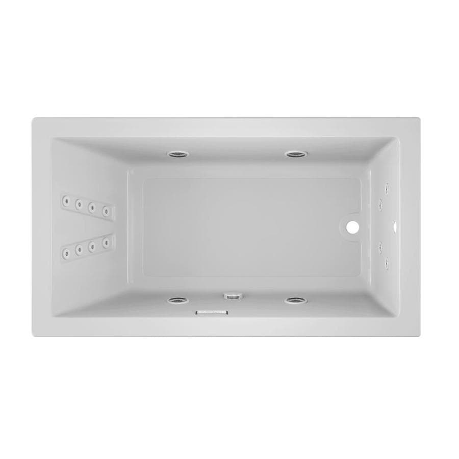 Jacuzzi Solna 66-in White Acrylic Drop-In Whirlpool Tub with Reversible Drain
