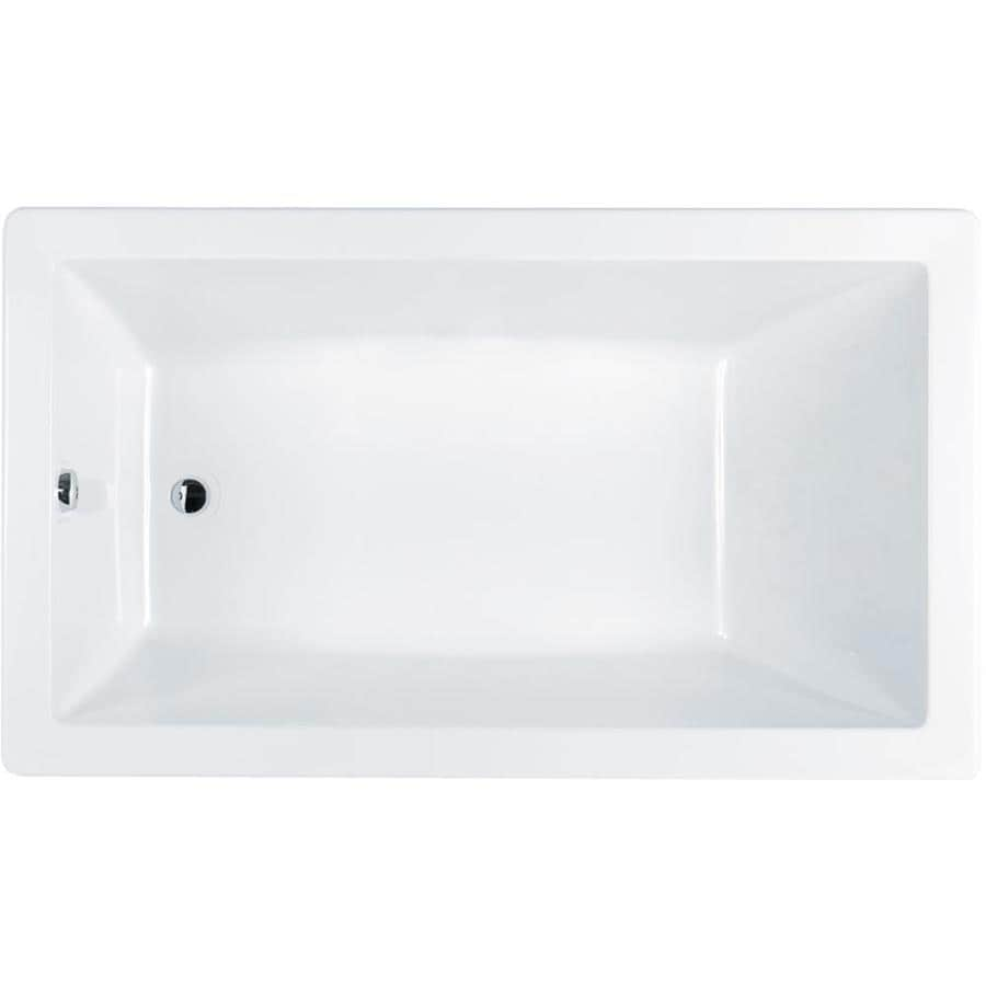 Jacuzzi Solna White Acrylic Rectangular Drop-in Bathtub with Reversible Drain (Common: 42-in x 72-in; Actual: 26-in x 42-in x 72-in
