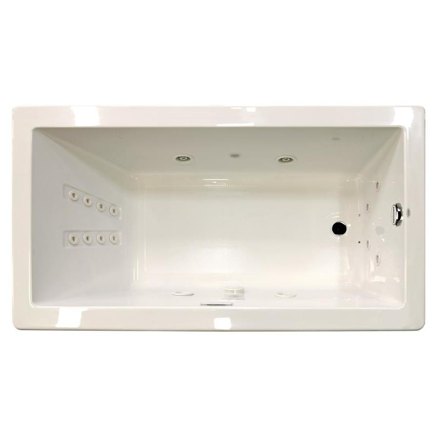 Jacuzzi Solna 72-in Oyster Acrylic Drop-In Whirlpool Tub with Reversible Drain