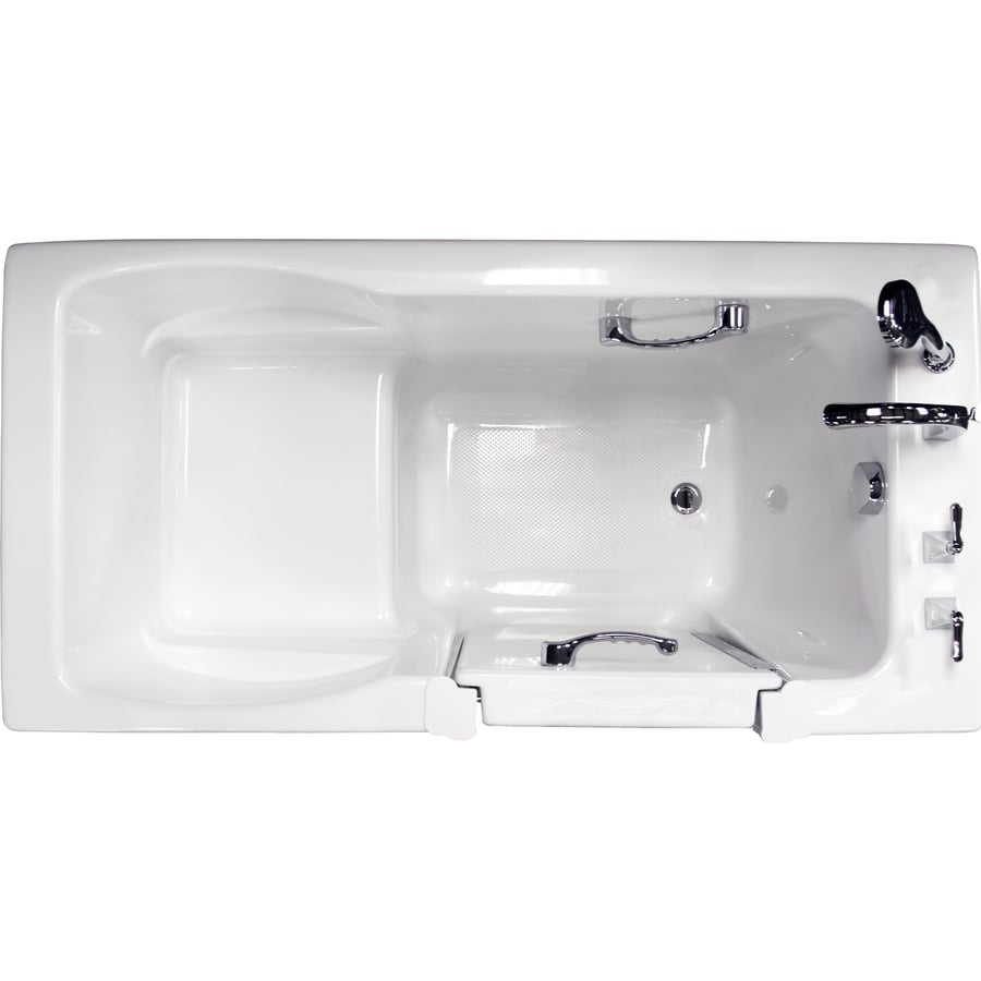 60 in white acrylic bathtub with front center drain at