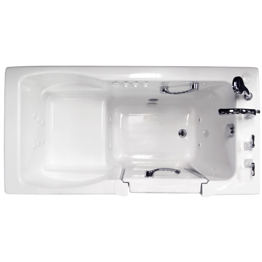 Ristorre 60-in L x 30-in W x 38.5-in H White Acrylic Rectangular Walk-in Whirlpool Tub and Air Bath