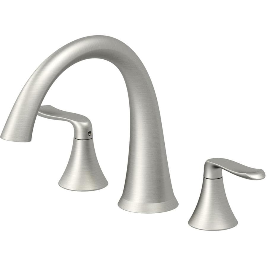 Shop Jacuzzi Piccolo Brushed Nickel 2 Handle Deck Mount Bathtub Faucet At