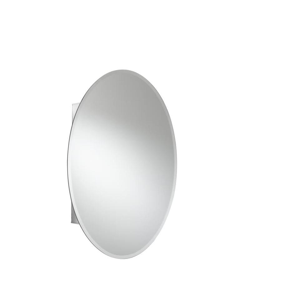 Jacuzzi 21-in x 31-in Oval Surface/Recessed Mirrored Aluminum Medicine Cabinet