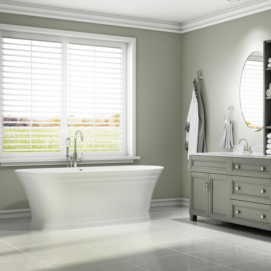 Jacuzzi Lyndsay 67-in White Acrylic Freestanding Bathtub with Center Drain