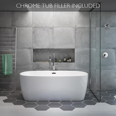 Primo 67 In White Acrylic Oval Center Drain Freestanding Bathtub With Faucet Included
